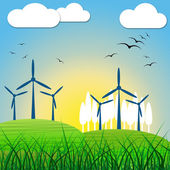 Wind Power Shows Renewable Resource And Environmental — Stock Photo