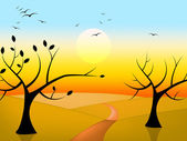 Kuşların uçuş ve şube ağaçlar güneş gösterir — Stok fotoğraf