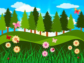 Countryside Trees Represents Woods Branches And Meadow — Stock Photo