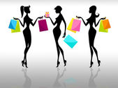 Shopping Women Represents Retail Sales And Adults — Stock Photo