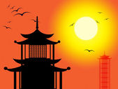 Pagoda Silhouette Indicates Zen Buddhism And Worship — Stok fotoğraf