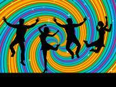 Jumping Joy Indicates Activity Wave And Swirl — Stock Photo