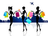 Shopping Shopper Shows Retail Sales And Adults — Stock Photo