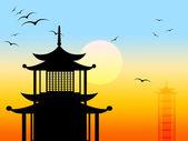 Pagoda Silhouette Represents Zen Japanese And Profile — Stock Photo
