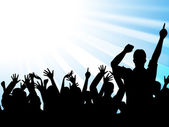 Dancing Silhouettes Indicates Text Space And Celebrations — Stock Photo