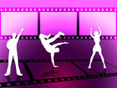Filmstrip Disco Indicates Celluloid Dance And Photograph — Zdjęcie stockowe