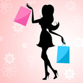 Shopping Woman Means Commercial Activity And Buying — Stock Photo