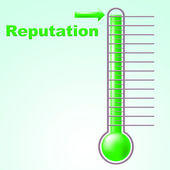 Reputation Thermometer Shows Mercury Credibility And Temperature — Stock Photo