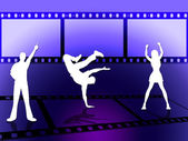 Filmstrip Dancing Indicates Disco Music And Border — Stock Photo