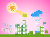 Solar Panel Shows Energy Source And Downtown — Stock Photo