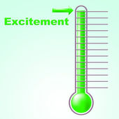 Excitement Thermometer Means Centigrade Thrill And Celsius — Stock Photo