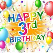 Birthday Third Indicates Happiness Congratulating And Celebration — Stock Photo