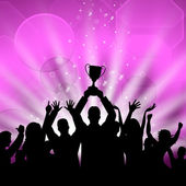 Celebrate Win Shows First Place And Cheerful — Stock Photo