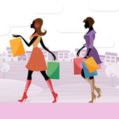 Women Shopper Shows Commercial Activity And Adults — Stock Photo