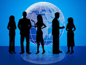 Business People Means Globally Businesswoman And Colleagues — Stock Photo