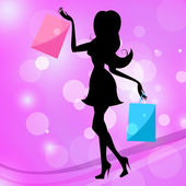 Woman Shopping Indicates Commercial Activity And Adult — Stock Photo