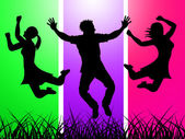 Excitement Jumping Indicates Green Grass And Excited — Stock Photo