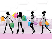 Women Shopping Shows Commercial Activity And Adult — Stock Photo