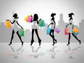 Shopping Women Shows Retail Sales And Adult — Stock Photo