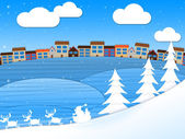 Snow Xmas Shows Christmas Greeting And Wintry — Stock Photo