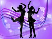 Dancing Women Represents Disco Music And Adult — Foto Stock