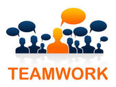 Team Teamwork Means Cooperating Ally And Cooperate — Stock Photo