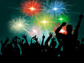 Dancing Disco Represents Fireworks Display And Celebrate — Stock Photo