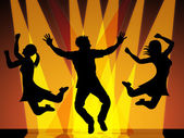 Jumping Disco Indicates Celebration Dance And Dancing — Stock Photo