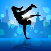 Break dansçı sokak dans ve breakdans gösterir — Stok fotoğraf
