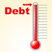 Thermometer Credit Indicates Debit Card And Banking — Stock Photo