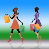 Shopping Women Indicates Commercial Activity And Adults — Stock Photo