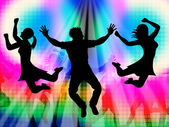 Excitement Jumping Represents Disco Dancing And Activity — 图库照片