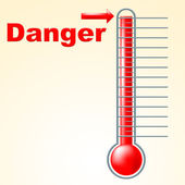 Danger Thermometer Indicates Mercury Celsius And Beware — Stock Photo