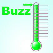 Thermometer Buzz Means Public Relations And Aware — Stock Photo