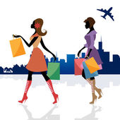 Women Shopping Means Commercial Activity And Adult — Stock Photo