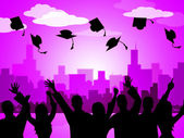 Celebrate Graduation Indicates Party School And Develop — Stock Photo