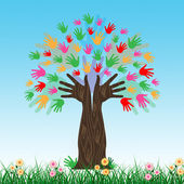 Handprints Tree Shows Hands Together And Artwork — Stock Photo