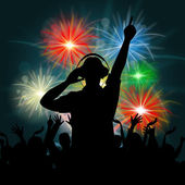 Fireworks Dj Represents Explosion Background And Celebrate — Stock Photo