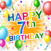 Birthday Seventh Represents Happiness 7 And Celebration — Stock Photo