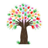 Handprints Tree Means Hands Together And Artwork — Stock Photo