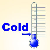 Cold Thermometer Indicates Thermostat Freeze And Freezing — Stock Photo