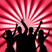 Dancing Disco Shows Cheerful Discotheque And Music — Stock Photo
