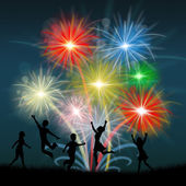 Play Fireworks Indicates Celebrate Festive And Children — Stock Photo