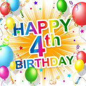 Fourth Birthday Represents Celebration Celebrate And Congratulations — Stock Photo