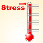 Thermometer Stress Means Tension Celsius And Thermostat — Stock Photo