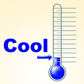 Cool Thermometer Shows Thermostat Frosty And Coldness — Stock Photo