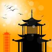 Pagoda Silhouette Indicates Religion Asia And Oriental — Stock Photo