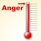 Anger Thermometer Indicates Cross Irritated And Temperature — Stock Photo