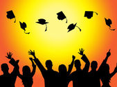 Graduation Education Means Graduate Diploma And Train — Stock Photo