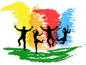 Jumping People Indicates Colorful Active And Happiness — Stock Photo